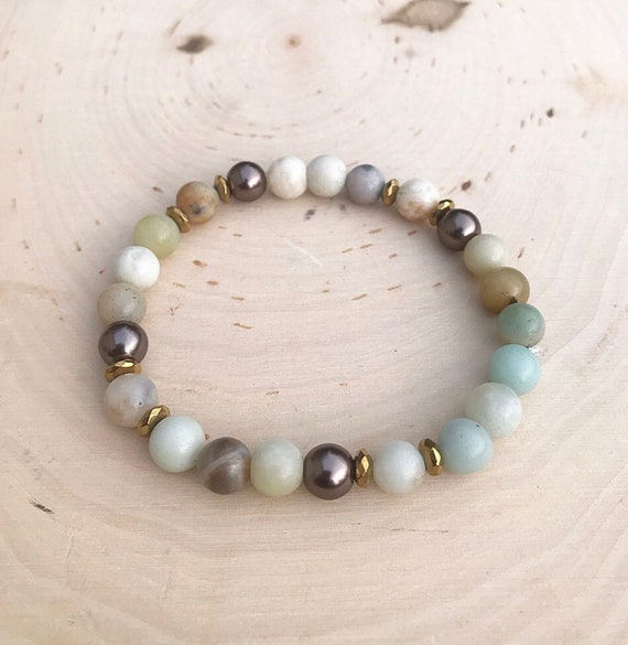 Intention Crystal Bracelet- Intention Bracelet- Crystal Bracelet- Beaded Bracelet- Amazonite Jewelry