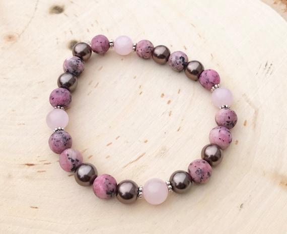Intention Bracelet- Intention Jewelry- Black Rhodochrosite Bracelet- Rose Quartz Jewelry