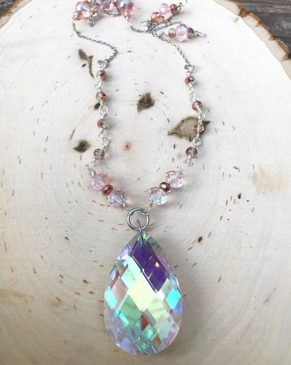 Huge Iridescent Glass Crystal Necklace- Iridescent Jewelry- Aura Crystal Necklace