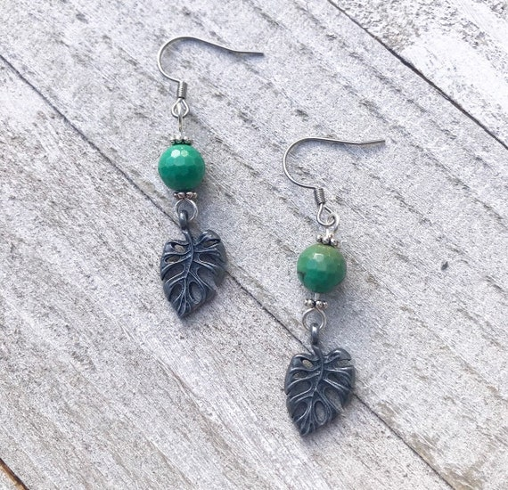 Monstera Earrings- Assorted Gemstones- Leaf Earrings- Plant Earrings- Plant Lover Earrings