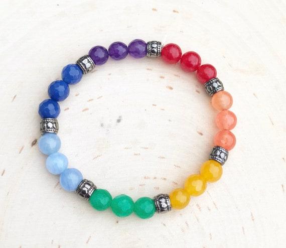 Chakra Bracelet- Balancing Chakra Jewelry- Rainbow Beaded Bracelet- Gemstone Bracelet