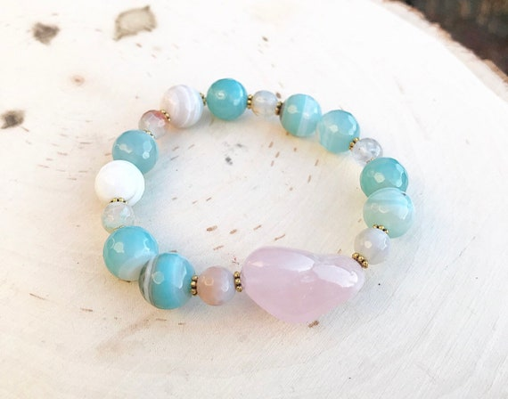 Intention Bracelet- Banded Agate Bracelet- Rose Quartz Bracelet- Intention Jewelry
