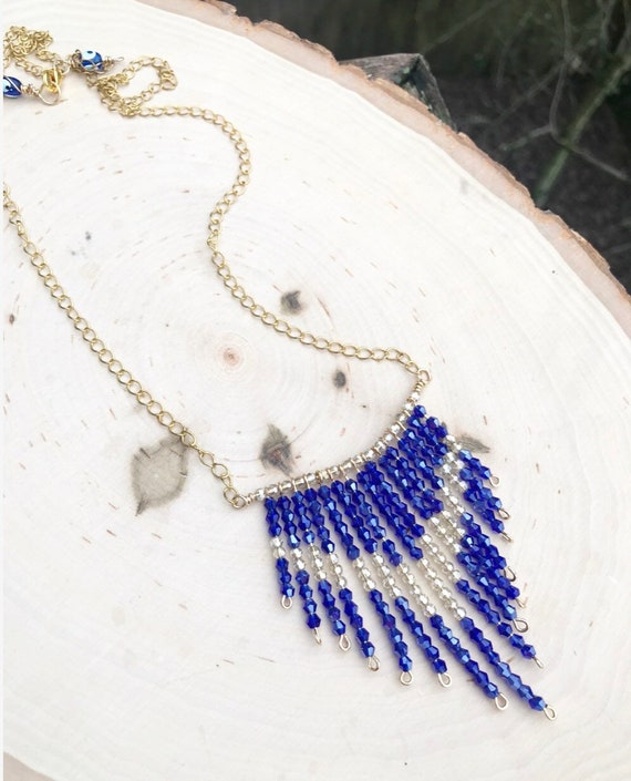 Royal Blue Beaded Chevron Necklace- Swarovski Crystals-Gold