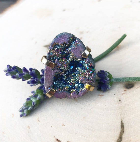 Rainbow Quartz Druzy Statement Ring- Aura Quartz Geode- Rainbow Quartz Geode Ring- Adjustable Ring
