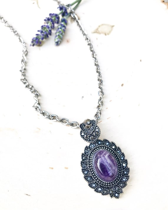 Chevron Amethyst and Marcasite Pendant- Amethyst Jewelry- February Birthstone- Amethyst Necklace
