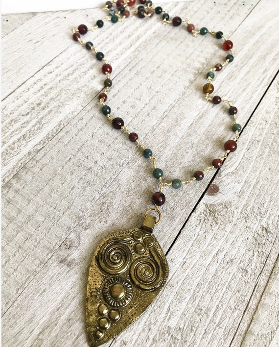 Brass Tribal Pendant Necklace- Fire Agate Necklace- Brass Necklace- Rosary Necklace- Tibetan Brass