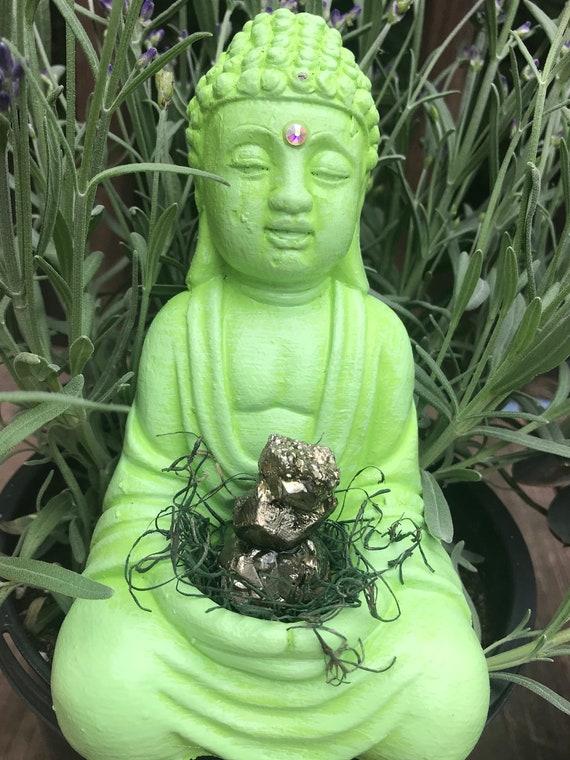 Buddha Statue- Lime Green Buddha- Home Decor- Crystal Buddha- Pyrite- Altar Buddha