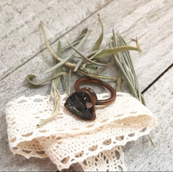 Black tourmaline in Quartz Ring- Rutilated Quartz Ring- Black Tourmaline Ring