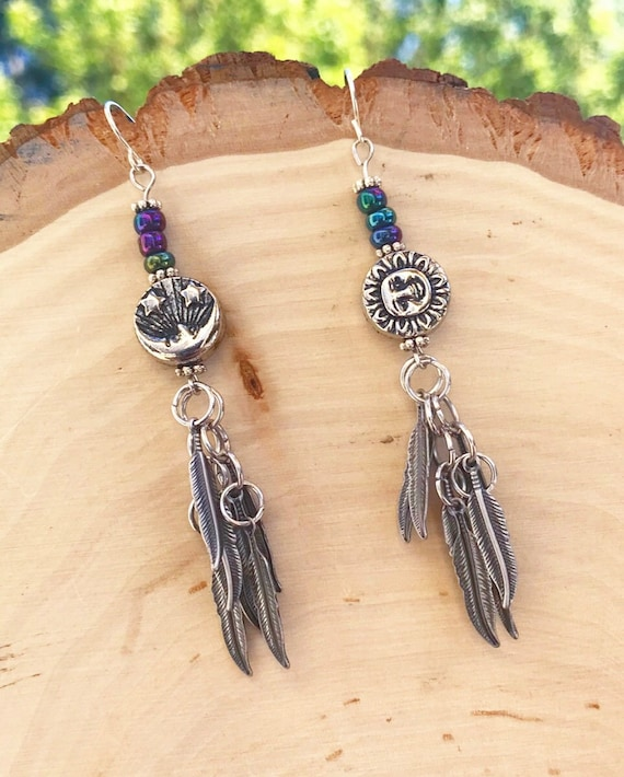 Silver Feather Drop Earrings- Sun and Moon Jewelry- Sun Earrings- Moon Earrings- Rainbow Hematite Stones