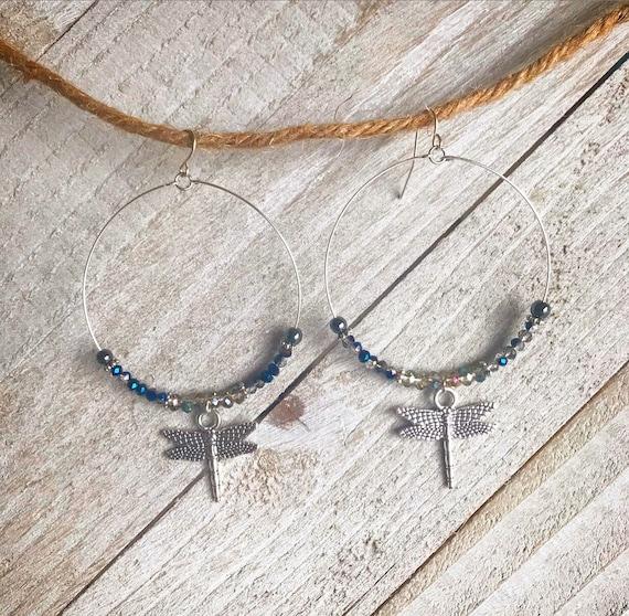 Dragonfly Jewelry- Dragonfly Earrings- Dragonfly- Hoops- Silver Hoops