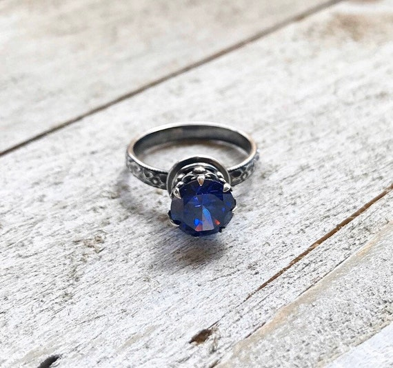 Blue Topaz Ring- Sterling Silver Ring- Blue Stone Jewelry- Topaz
