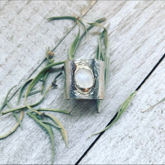 Moonstone Ring- Sterling Silver Ring- Wide band ring- Rainbow Moonstone