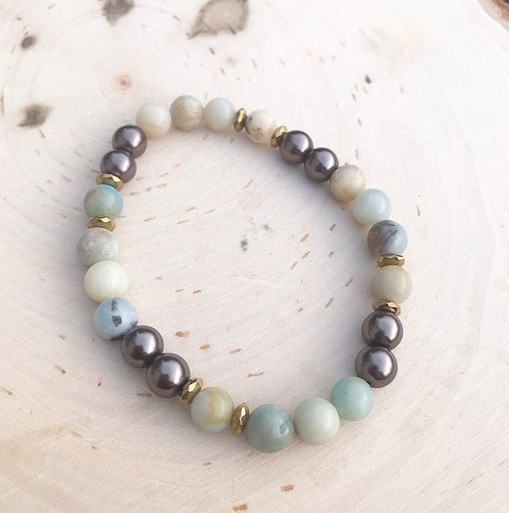 Intention Bracelet- Healing Crystal Bracelet- Intention Jewelry- Reiki Bracelet- Amazonite Jewelry