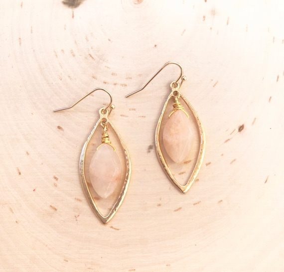 Peach Moonstone Earrings- Crystal Earrings- Gold/Silver Moonstone Earrings- Moonstone Jewelry