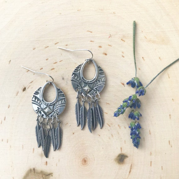 Silver Tribal Earrings- Feather Earrings- Silver Feather Jewelry
