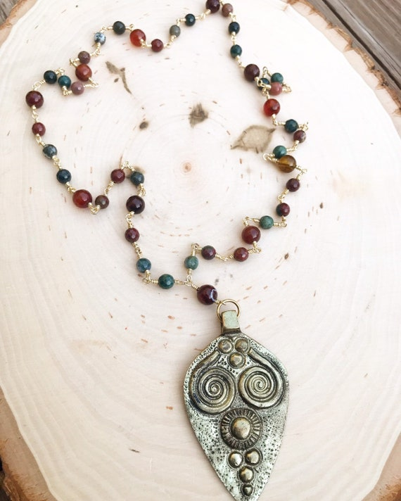 Brass Tribal Pendant Necklace- Fire Agate Necklace- Brass Necklace- Rosary Necklace