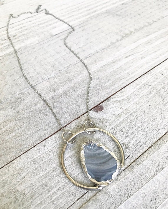 Circular Druzy Pendant- Grey Druzy Necklace- Quartz Druzy Necklace- Silver Druzy Necklace