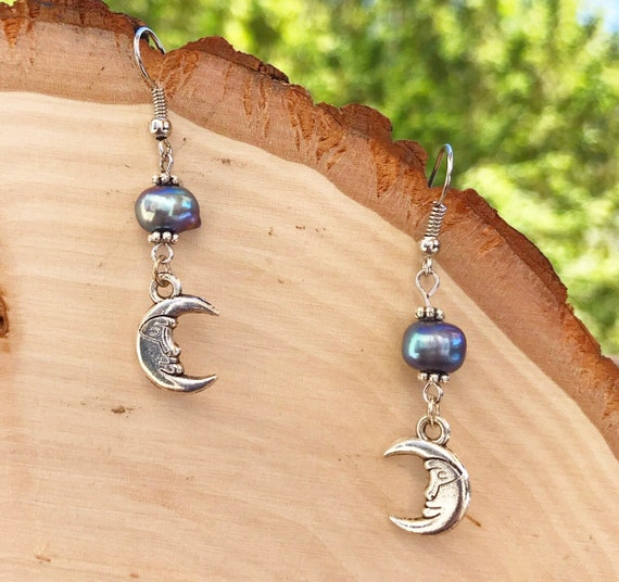 Crescent Moon Earrings- Fresh Water Pearl- Silver Moon- Peacock Pearl Earrings- Moon Jewelry