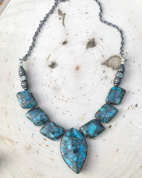 Jasper Necklace- Sea Sediment Jasper- Blue Jasper Necklace- Crystal Necklace