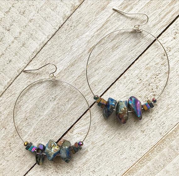 Titanium Quartz Earrings- Rainbow Quartz- Aura Quartz Jewelry- Hoop Earrings- Silver Hoops- Gold Hoops