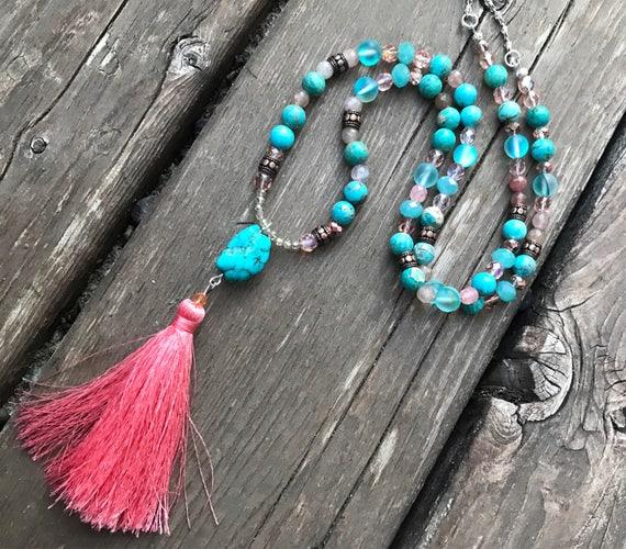 Turquoise Howlite Beaded Necklace- Turquoise Jewelry- Rose Quartz Necklace- Gemstone Necklace- Jasper Necklace