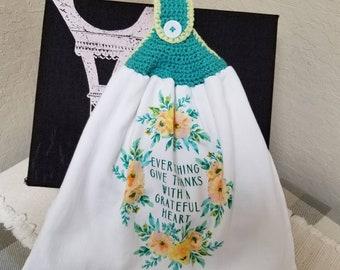 Grateful Heart Double Crochet Top Kitchen Towel