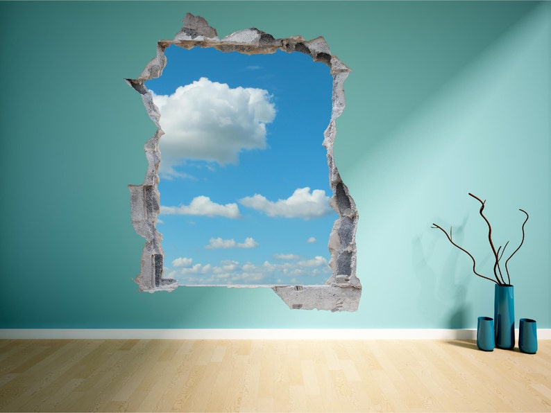 Cloud Sky Brick Wall Hole 3D Wall Art Sticker Decal Mural Print Transfer  WAP-B107A