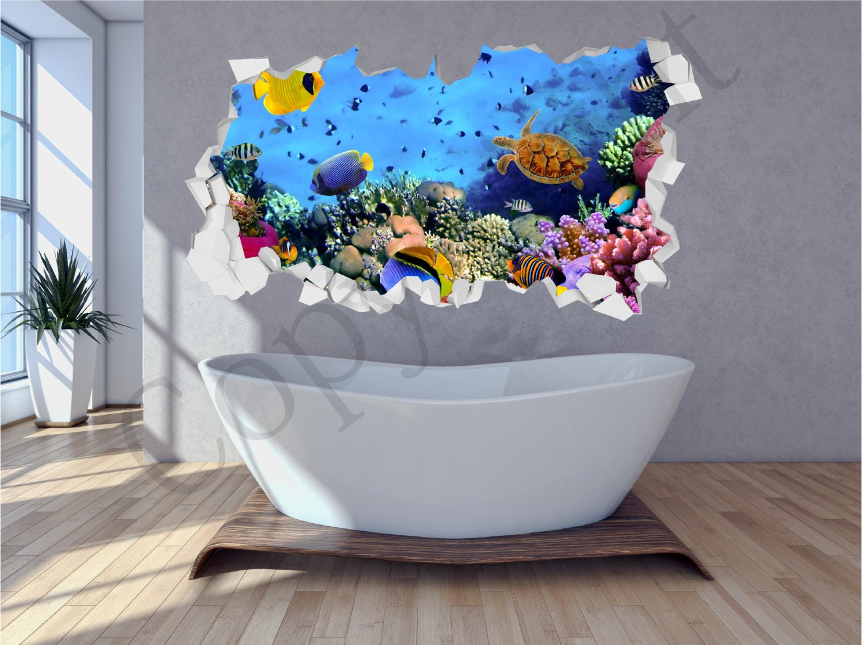 Mer Aquarium Poissons Salle De Bain Sous Leau Miett Mur Mur