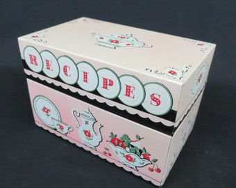 Pink Tin Recipe Box with Category Divider Card Tabs Stylecraft No. 817 Made in USA