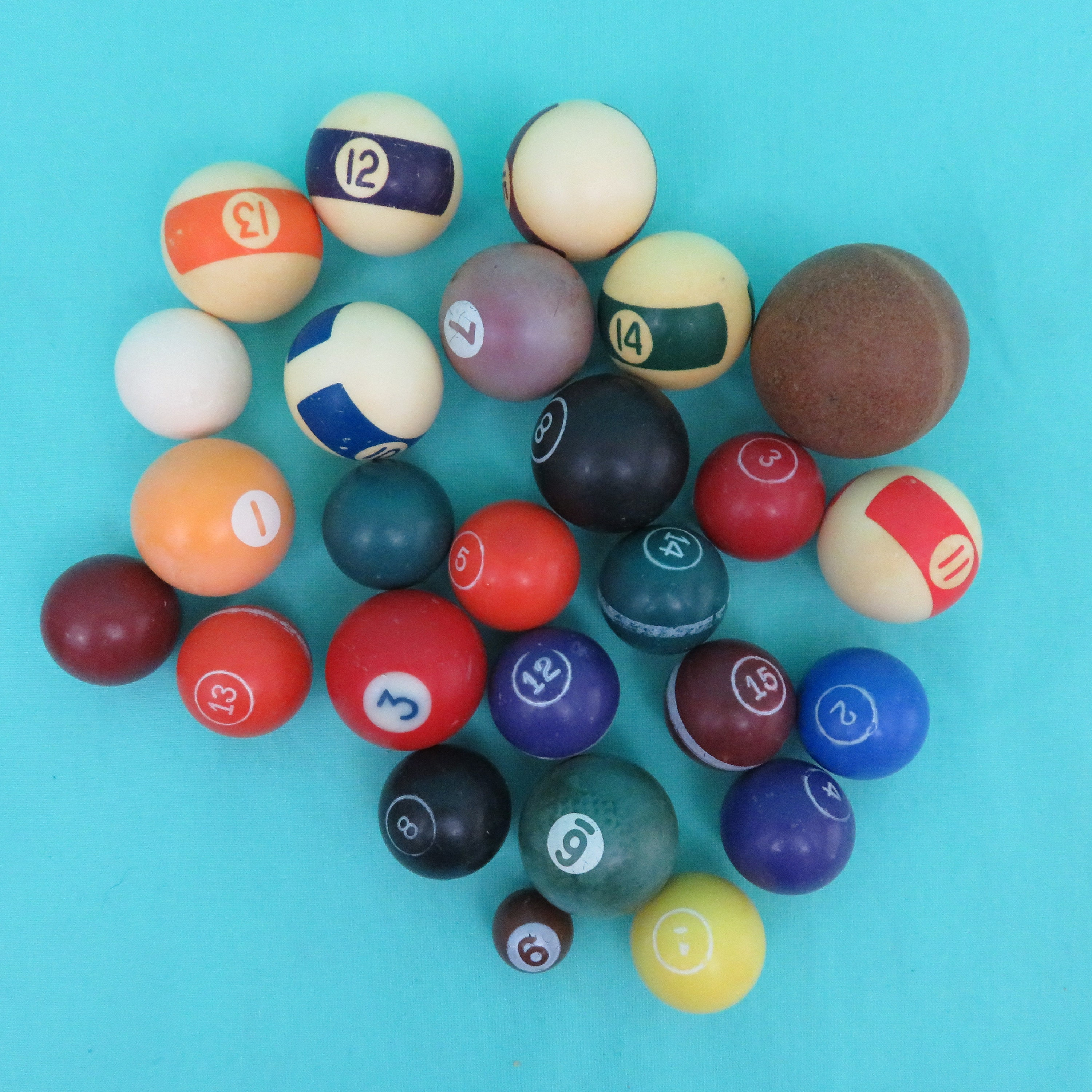 26 Miniature Pool Billiard Snooker Balls Multicolored Multiple Sizes Numbers Stripes for sale