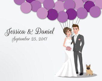 Wedding Guest Book Alternative Custom Guest Book Poster Print Guest Sign Custom Bride Groom Custom Couple Personalized Guest French Bulldog