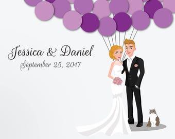 Wedding Guest Book Alternative Custom Guest Book Poster Print Guest Sign Custom Bride Groom Custom Couple Personalized Long Hair Cat