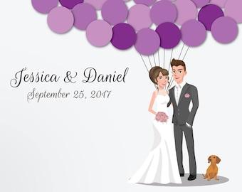 Wedding Guest Book Alternative Custom Guest Book Poster Print Guest Sign Custom Bride Groom Custom Couple Personalized Guest Daschund