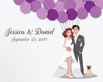 Wedding Guest Book Alternative Custom Guest Book Poster Print Guest Sign Custom Bride Groom Custom Couple Personalized Guest Pug