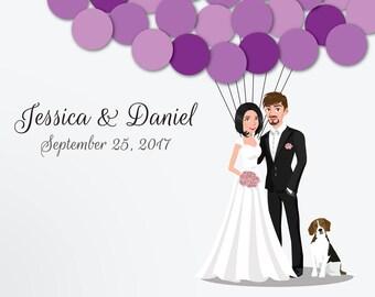 Wedding Guest Book Alternative Custom Guest Book Poster Print Guest Sign Custom Bride Groom Custom Couple Personalized Beagle