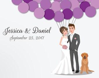 Wedding Guest Book Alternative Custom Guest Book Poster Print Guest Sign Custom Bride Groom Custom Couple Personalized Golden Retriever