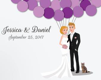 Wedding Guest Book Alternative Custom Guest Book Poster Print Guest Sign Custom Bride Groom Custom Couple Personalized Short Hair Cat