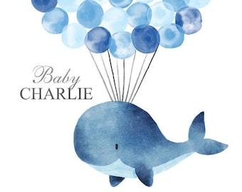Ocean Nursery Fine Art Print Balloon Sign In Whale Guest Book Alternative Nursery Art Print