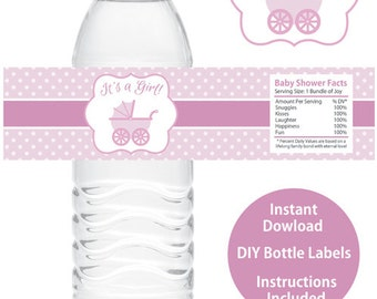 Water Bottle Labels Baby Shower Etsy