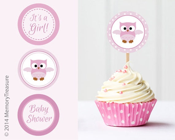 Owl Baby Shower Cupcake Toppers Printable Baby Shower Cup Cake Etsy