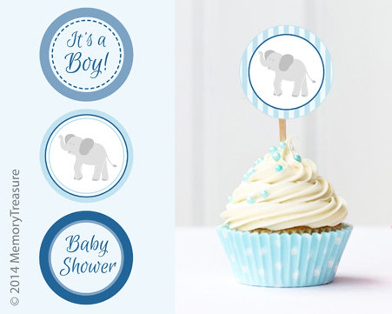 Elephant Baby Shower Cupcake Toppers Printable Baby Shower Cup Etsy
