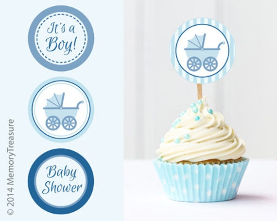 Boy Baby Shower Cupcake Toppers Printable Baby Shower Cup Cake Etsy