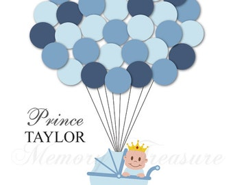 Prince Baby Shower Guest Book Alternative Guest Sign In Ideas Blanket Balloons Poster Print Guest Sign Personalized Little Prince Crown King