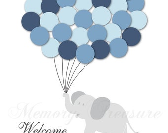 Baby Shower Guest Book Alternative Elephant Children Kid Birthday Balloons Poster Print Guest Sign Personalized Unique DIGITAL FILE ONLY!
