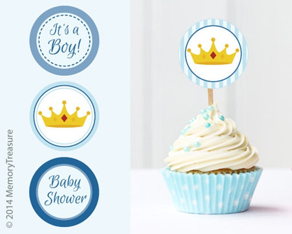 Prince Baby Shower Cupcake Toppers Printable Baby Shower Cup Etsy
