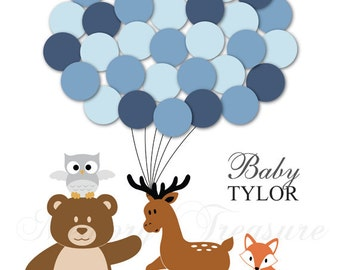 Woodland Animals Baby Shower Guest Book Alternative Baby Shower Birthday Balloons Poster Print Guest Sign In Personalized Unique Creative