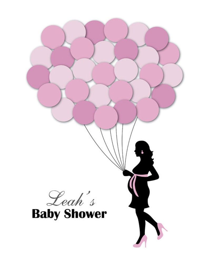 Baby Shower Guest Book Alternative Guest Sign In Ideas Mother Balloons Poster Print Guest Sign Personalized Unique Creative Fun Original