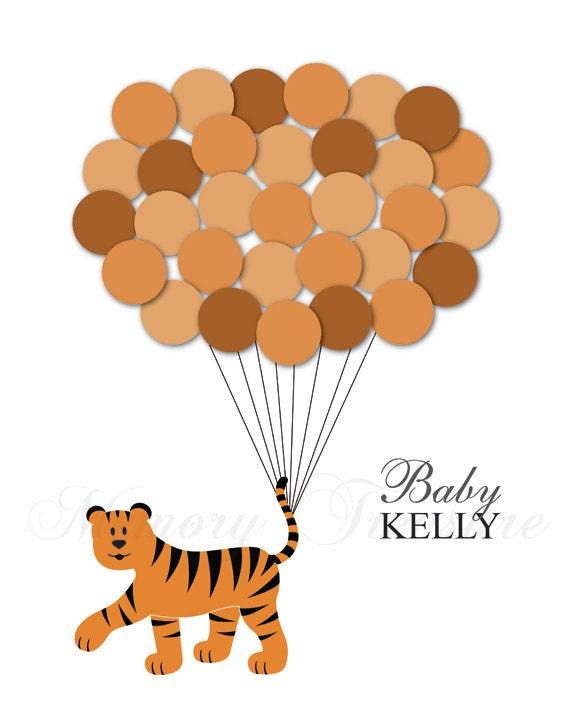 baby shower guest book alternative tiger children kids etsy. Black Bedroom Furniture Sets. Home Design Ideas