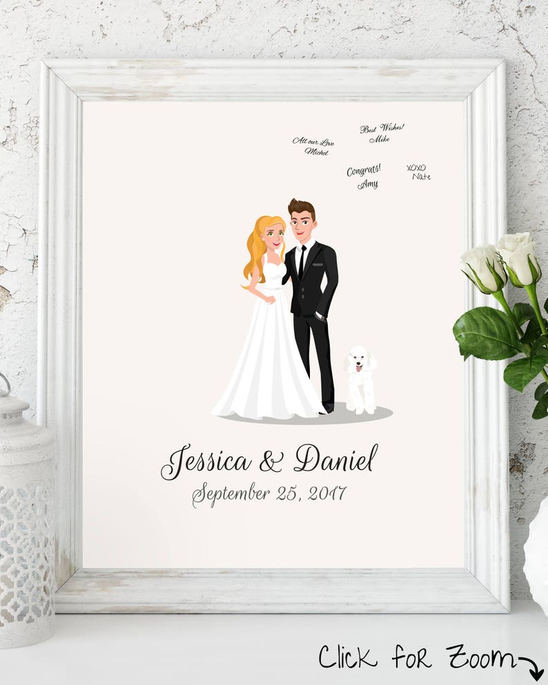 Wedding Guest Book Alternative Customized Couple Portrait Custom Guest Book Unique Wedding Guest Book Personalized Guest Book Custom Poodle