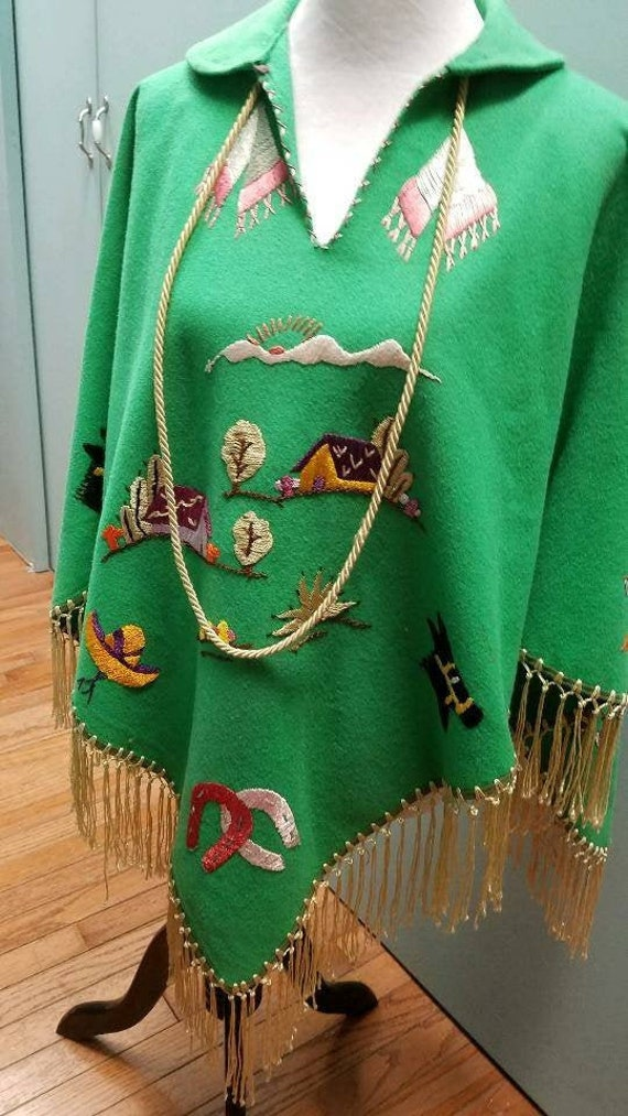 Vintage Mexican Souvenir Hand Embroidered Poncho
